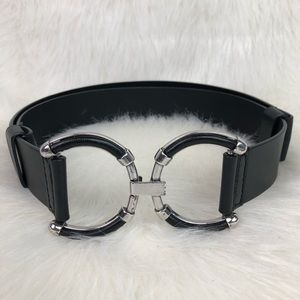 Chico's Black Leather silver tone clasp hook belt